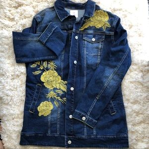LulaRoe denim jacket with appliqués size XL